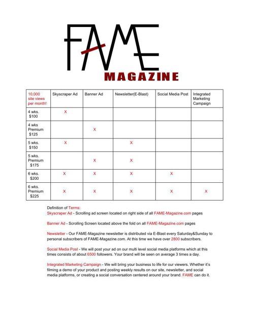 FAME Ad Sheet