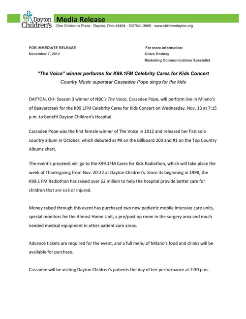 Cassadee Pope The Voice Performance Press Release