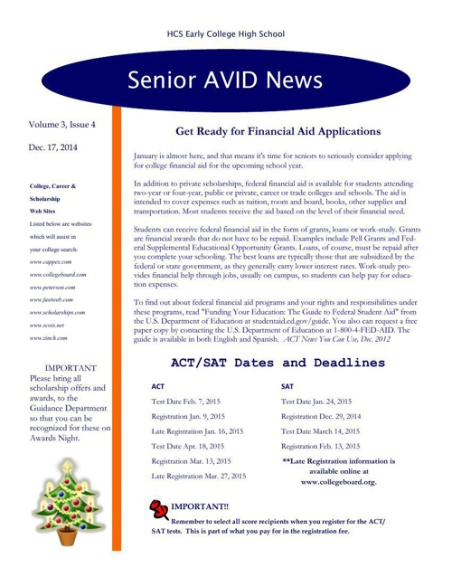 Senior Avid Newsletter #4