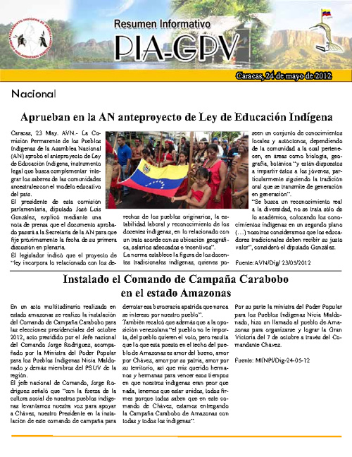 Resumen Informativo de 24 de Mayo 2012