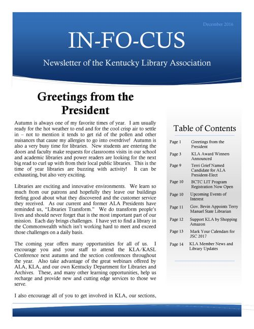 INFOCUS Back Issue Library