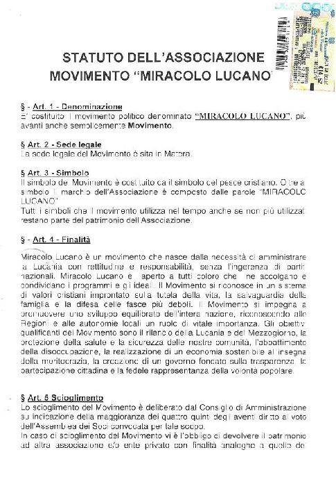 Statuto Miracolo Lucano