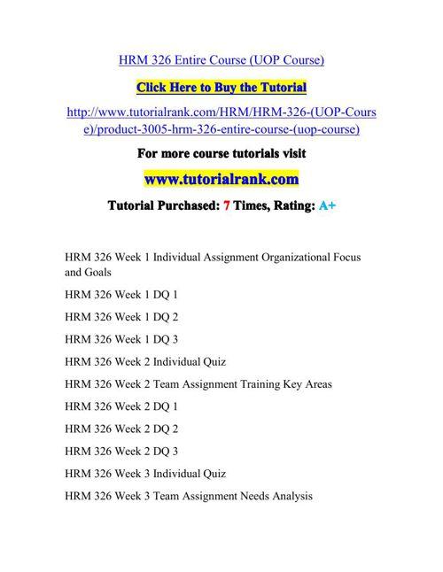 HRM 326 Potential Instructors / tutorialrank.com