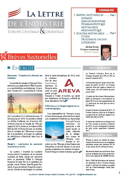 Lettre de l'Industrie N°1 juin 2012