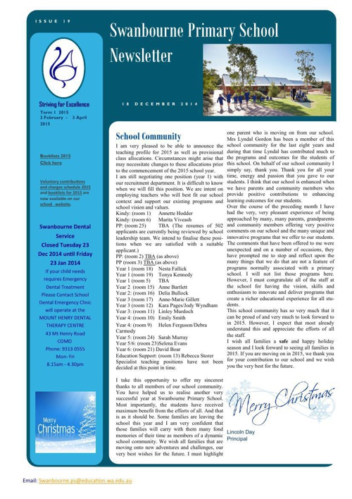 Newsletter Term 4             18.12.14