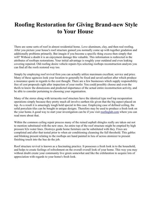 Roofing Restoration for Giving Brand-new Style to Your House