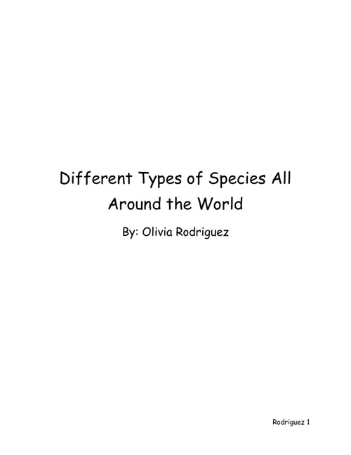 Different Types of Species All Around the World
