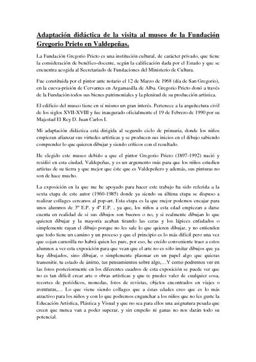 Adaptación didáctica de la visita al museo Gregorio Prieto