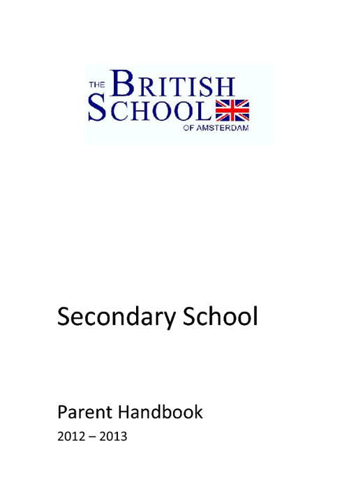 British School of Amsterdam Secondary Handbooks