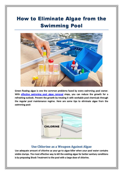 How to Eliminate Algae from Swimming Pool