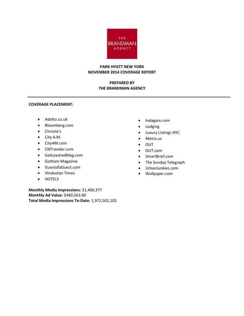 PHNY November 2014 Monthly Report