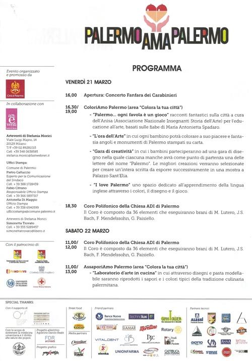 Programma ufficiale manifestazione Palermo Ama Palermo
