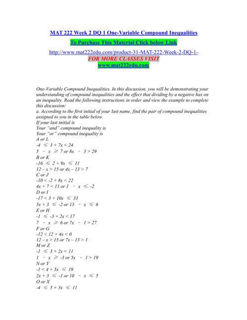 MAT 222 EDU Entire course /mat222edu.com
