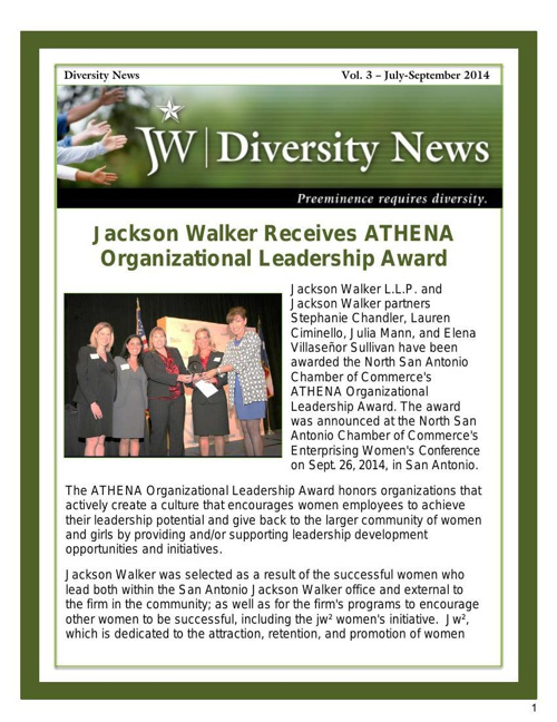JW Diversity News Vol. 3 - July-Sept. 2014