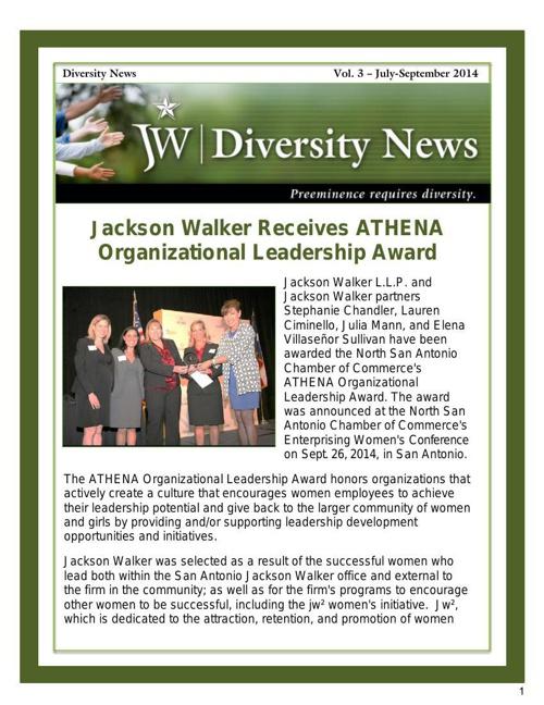 JW Diversity News Vol. 3 - July-Sept. 2014