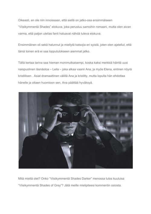 """[FI] """"Fifty Shades of Grey"""" to be continued in 2017 with """"Fifty"""