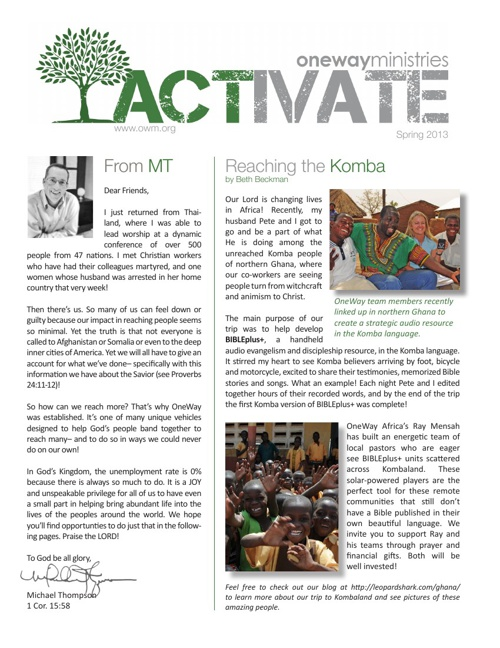 Activate - Spring 2013 - OneWay Ministries
