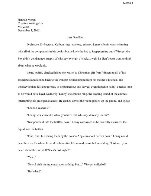 Just One Bite (Long Fiction Final Draft)