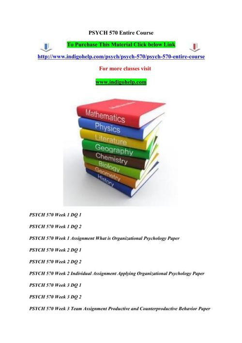 PSYCH 570 Entire Course 2