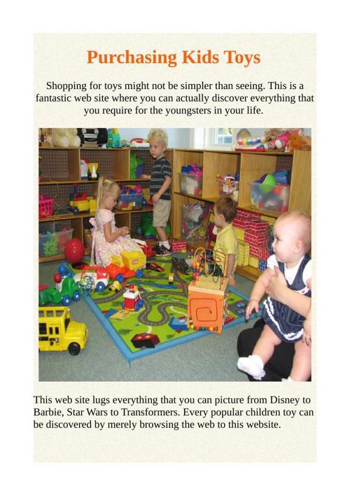 Purchasing Kids Toys