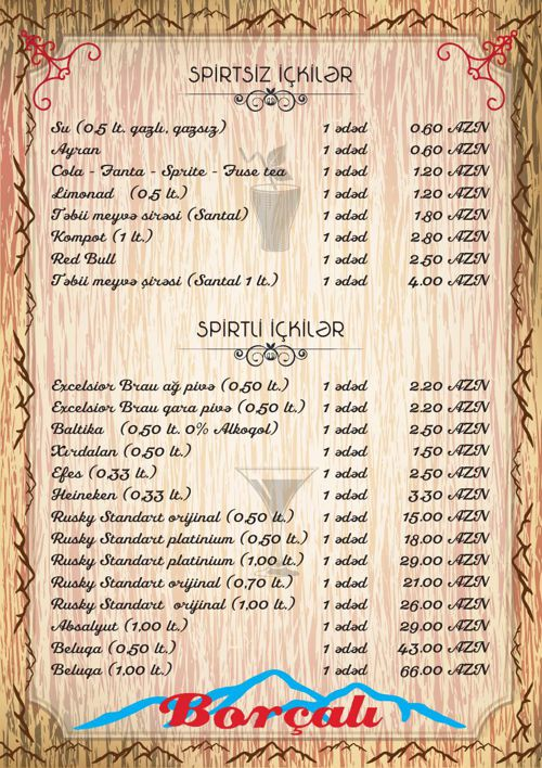 Borchali menu