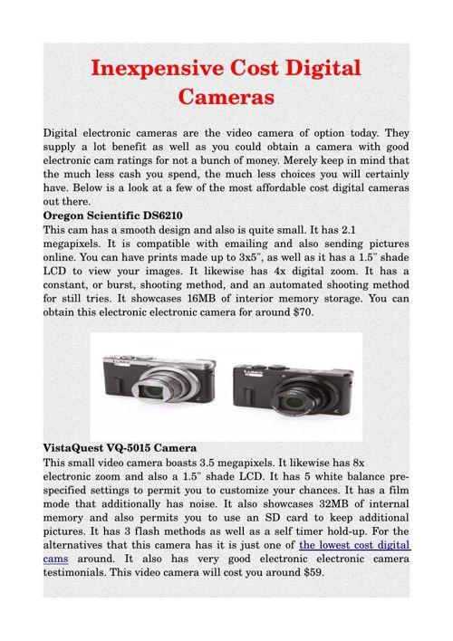 Inexpensive Cost Digital Cameras