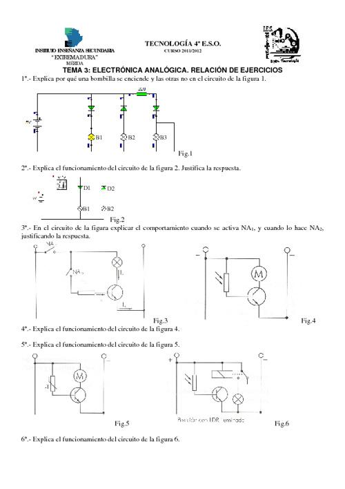 Ejercicios Electrónica Analógica 4º ESO