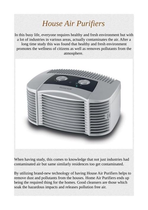 House Air Purifiers