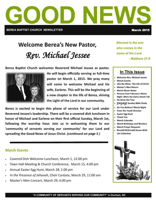 Berea Baptist Church Newsletters 2014