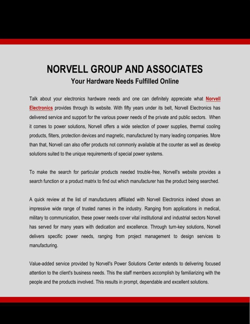 Norvell Group and Associates - Hardware Needs Fulfilled Online