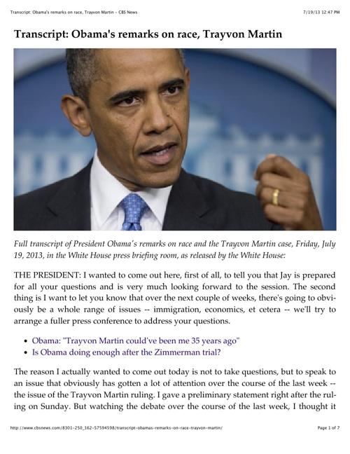 President Obama's Speech on Trayvon Martin