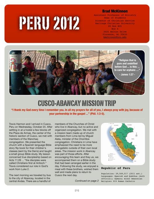 Peru Report