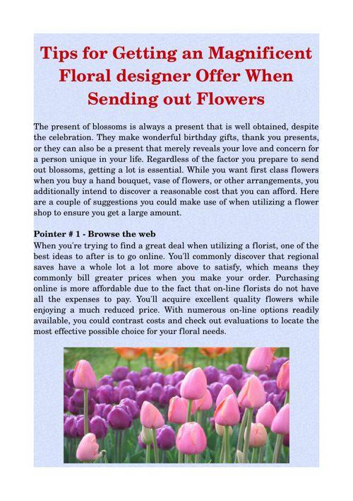 Tips for Getting an Magnificent Floral designer Offer When Sendi