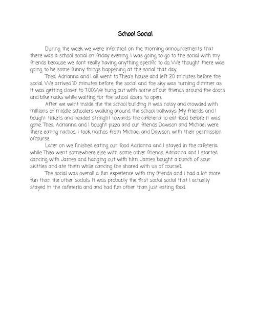 Middle School Diaries: Jennifer Back's Writing Portfolio