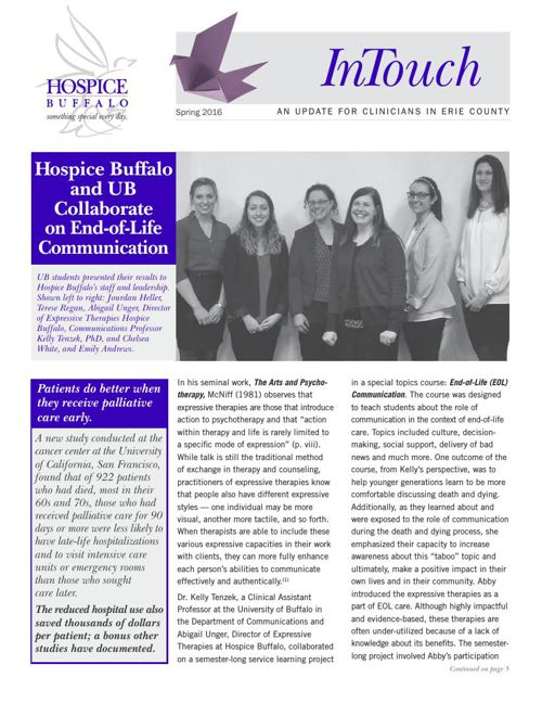 Hospice Buffalo Spring InTouch Newsletter
