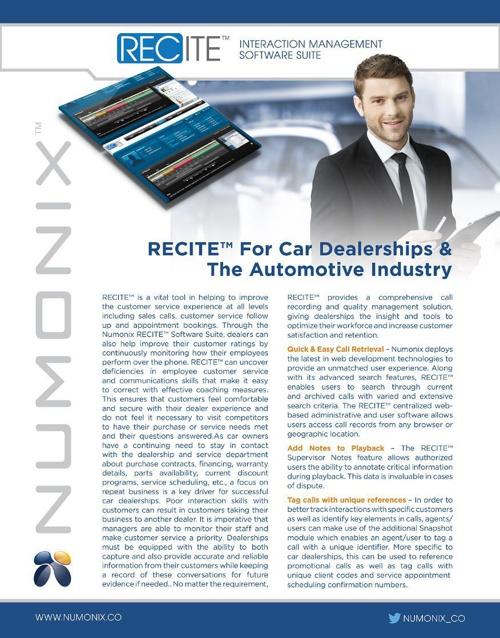 RECITE for Car Dealerships