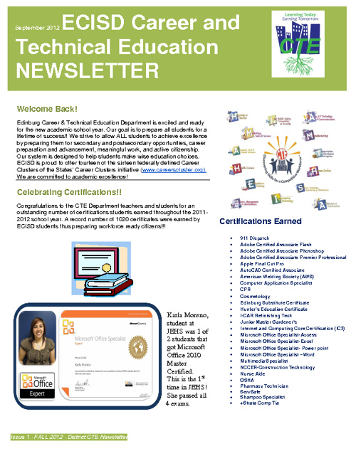 CTE Newsletters