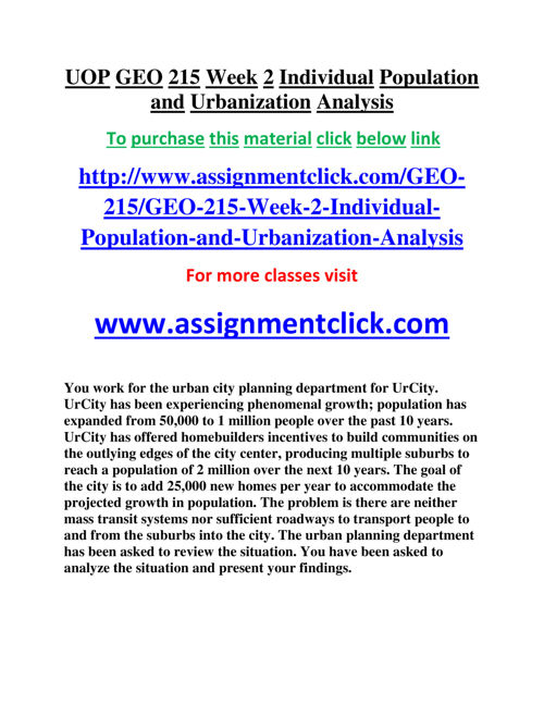 UOP GEO 215 Week 2 Individual Population and Urbanization Analys