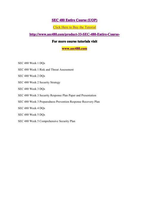 SEC 480 Entire Course (UOP)
