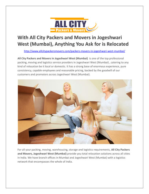 All City Packers and Movers in Jogeshwari West (Mumbai)