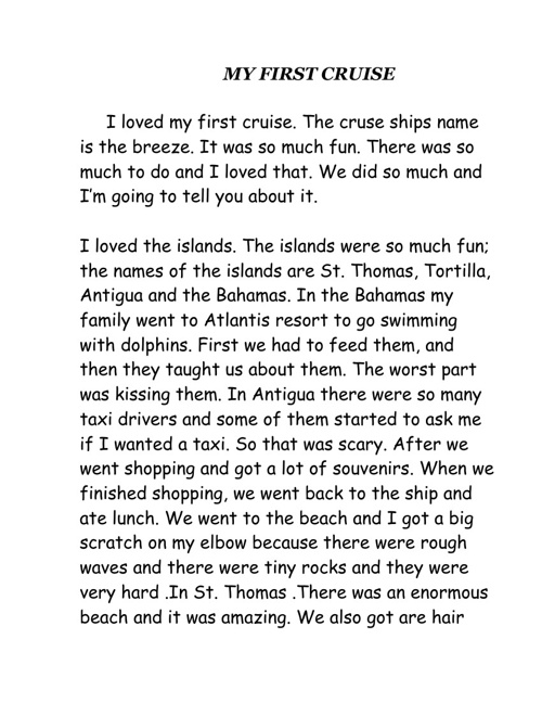 My First Cruise