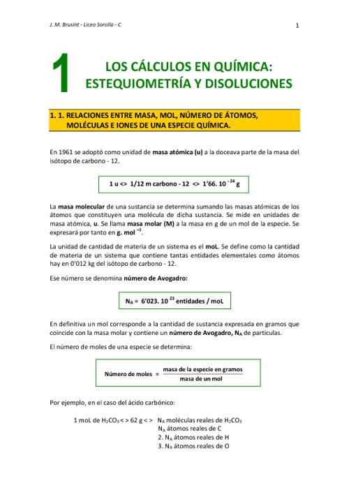 Tema 1. Los Cálculos en Química: Estequiometría y Disoluciones