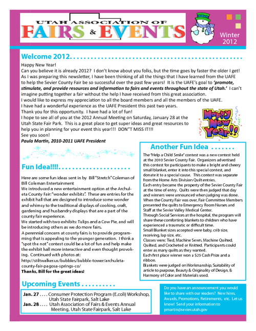 UAFE Winter 2012 Newsletter