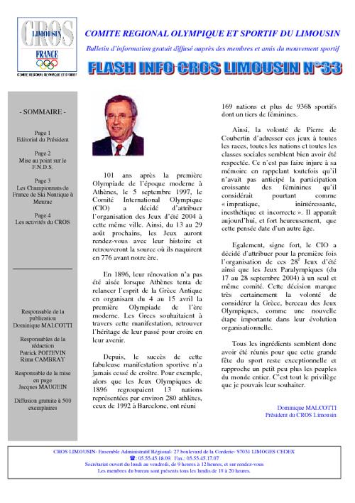 Flash Info N° 33 - Mai 2004