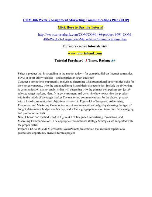 COM 486 Students Guide / Tutorialrank.com