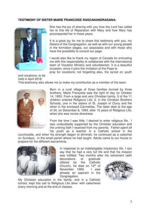 TESTIMONY OF SISTER MARIE FRANCOISE RASOANANDRASANA