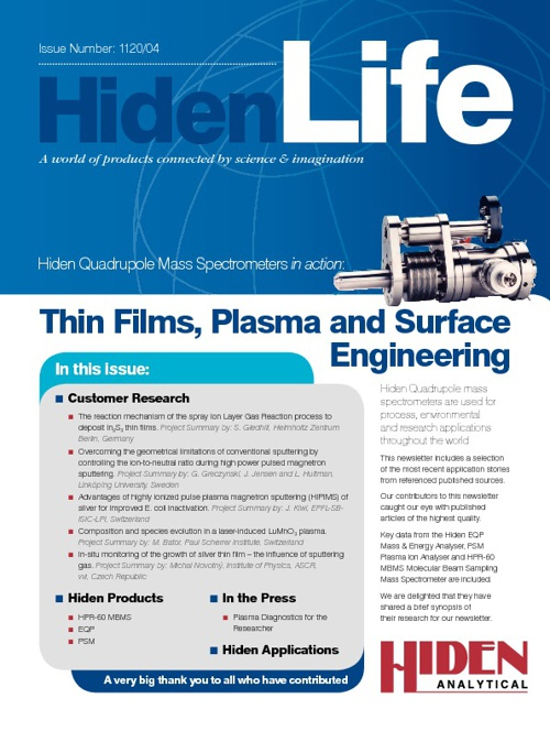 Hiden Life 1120/04 | Thin Films Plasma & Surface Engineering