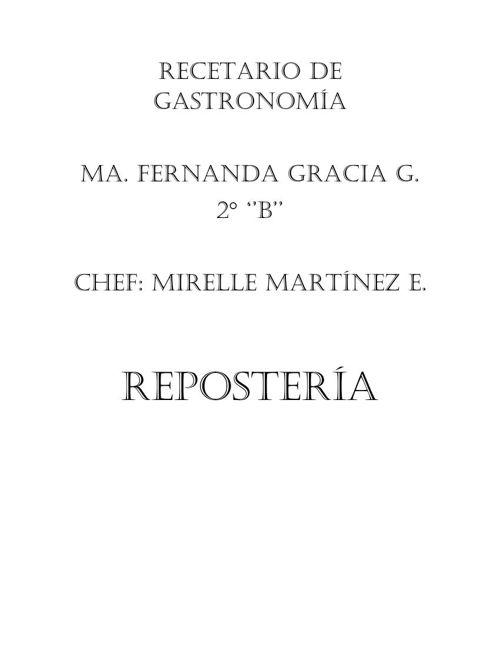 Recetario de Gastronomía Fer