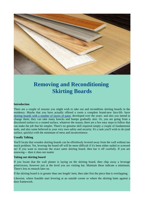 Removing and Reconditioning Skirting Boards