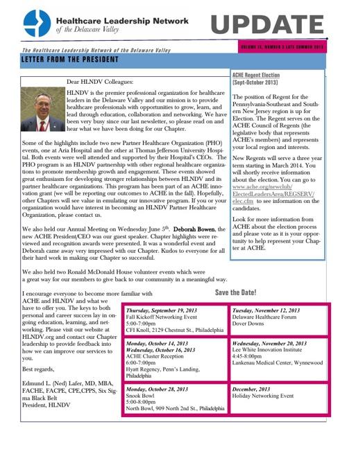 HLNDV Late Summer Newsletter